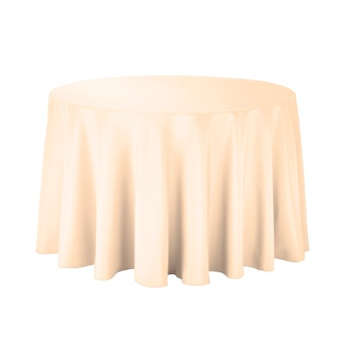 Linentablecloth Round Polyester Tablecloth, 108-Inch, Cantaloupe front-510952