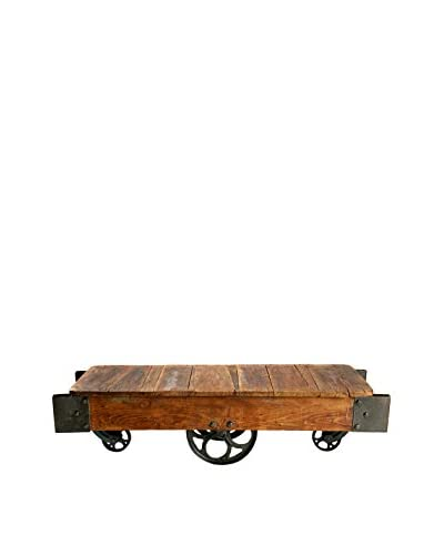 Bambeco Vintage Railroad Cart Table, Brown