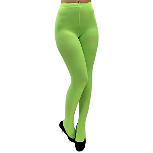 Luxury Divas Lime Opaque Stretchy Leotard Tights