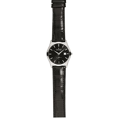 Charmex Ascot 2491 40mm Stainless Steel Case Black Calfskin Synthetic Sapphire Men's Watch