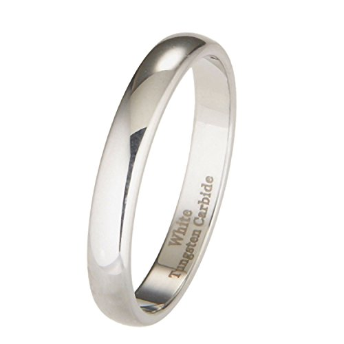 3mm White Tungsten Carbide Polished Classic Wedding Ring Size 6.5