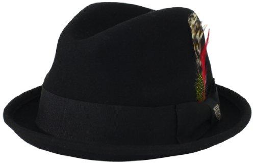 Brixton Men's Gain Fedora Hat, Black, Medium
