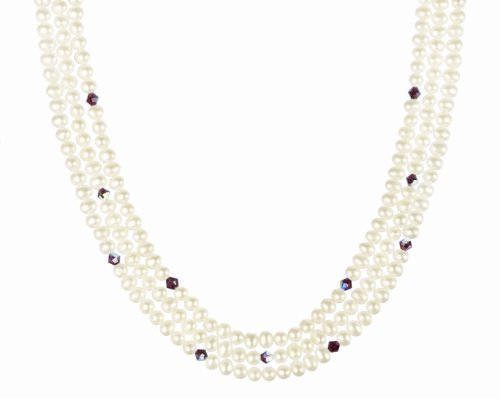 White Freshwater Cultured Pearl with Ruby Crystallized Swarovski Elements Bicone Bead Necklace with Gold Plated Sterling Silver Clasp