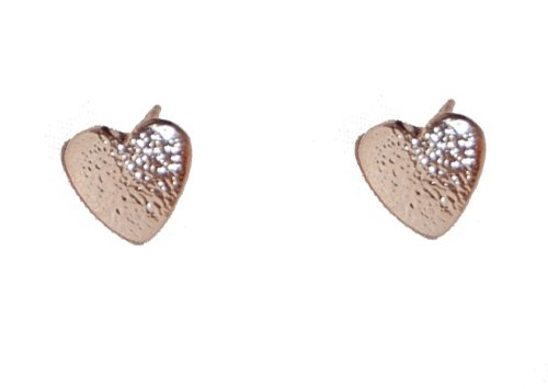 14ct Rose Gold Plated Anti-tarnish Heart Design Dainty Stud Earrings (Supplied in a Gift Pouch) Unique Jewellery