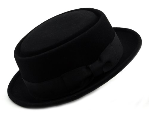 Mens Crushable Wool Felt Porkpie Hat w/Feather HE09 Bk-L/XL (Men Pork Pie Hat compare prices)