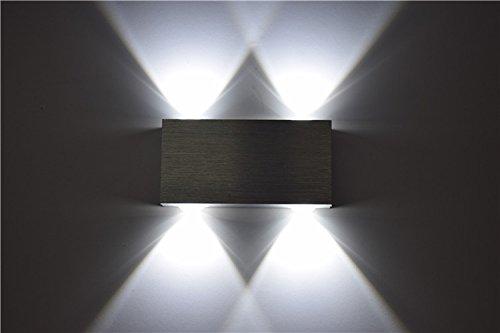 Lightess Lampada Inderna a Risparmio Applique LED da Parete Moderna di Alluminio 4 LED per Camera da Letto, Soggiorno, Bagno, Bianco Freddo