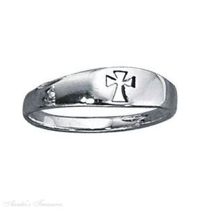 Sterling Silver Tapered Cut Out Christian Religious Cross Ring Size 7