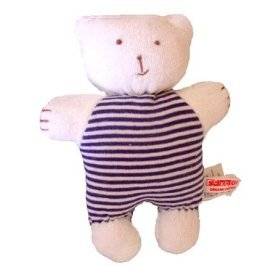 Sckoon Organic Cotton Soft Navy Stripe Toy: Baby Bear Doll (stuffing is organic cotton, too!)