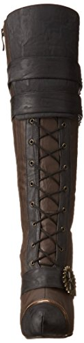 ELLIE-420-QUINLEY-4-Knee-High-Steampunk-Boot-With-Laces-Women-Brown-8-Size
