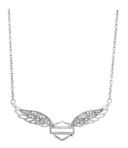 Harley-Davidson Womens Necklace, Bar & Shield Crystal Winged, Silver HDN0288