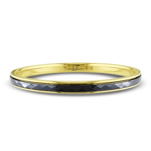 Stainless Steel Yellow Plated Black Ceramic Bangle (7in)