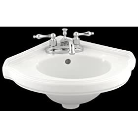 corner sink White Vitreous China, Portsmouth Corner Sink White 7 in. H x 22 in. W