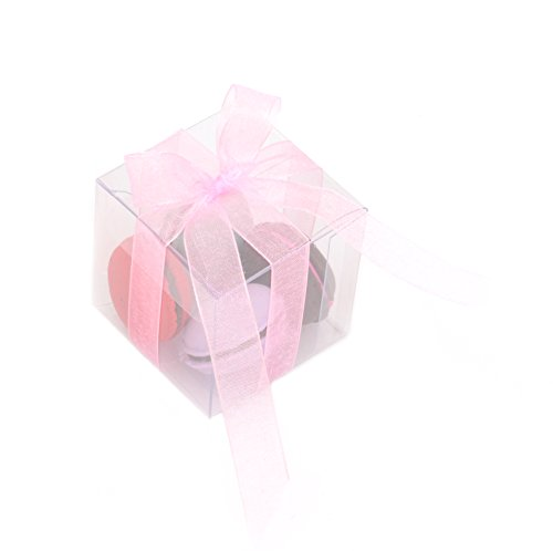 Mandydov 50pcs Anti-Scratch Clear Plastic PVC Box + 2pcs Pink Ribbon for Party Favor Wedding Retail Products Packaging Gift Candy Boxes (2x2x2 Inch) (Clear Plastic Box Packaging compare prices)