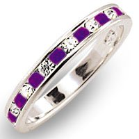 Crystal Bands - Sterling Silver Clear and Amethyst Swarovski Crystal Band