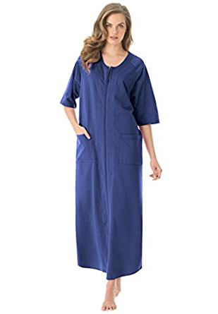 Dreams & Co. Women's Plus Size Long French Terry Robe Dark Navy,M