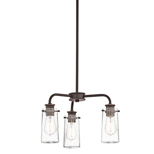 43057Oz Braelyn 3Lt Convertible Fixture, Olde Bronze Finish With Clear Seedy Glass