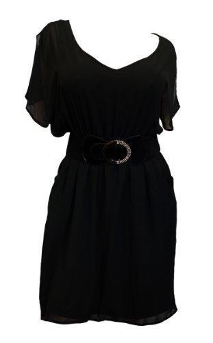 eVogues Plus Size Split Back Chiffon Dress Black - 2X
