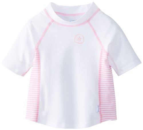 I Play. Unisex-Baby Infant Short Sleeve Rash Guard, White/Pink Stripe, X-Large/18-24 Months