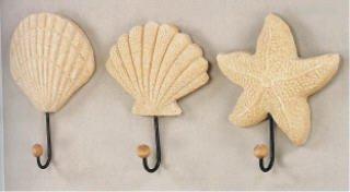 Sea Shell Starfish Beach Coat Wall Hooks Home Decor-Set of 3