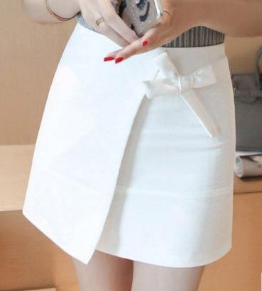 (ALLURE) ラップ風 スカート 台形 ミニスカート リボン 白 黒 AF0510