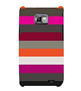 horizontal stripped multicoloured pattern 3D Hard Polycarbonate Designer Back Case Cover for Samsung Galaxy S2 :: Samsung Galaxy S2 i9100