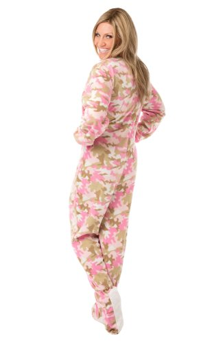 Big Feet Pjs Pink Camo Micro-Polar Fleece Adult Footed Pjs No Drop Seat (Xs) front-1009117