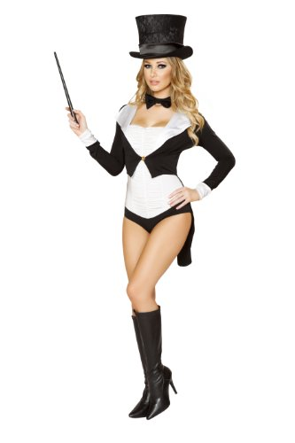 Roma Costume Women's 5 piece Mischievous Magician, Black/White, Medium/Large (Mischievous Magician Adult Costume)