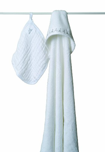 aden + anais Muslin Hooded Towel & Washcloth Set, Water Baby