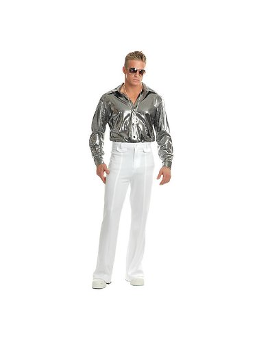 Charades Men's Silver Nail Head Disco Shirt