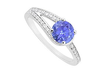 Tanzanite and Diamond Engagement Ring : 14K White Gold - 0.75 CT TGW Size 7.5