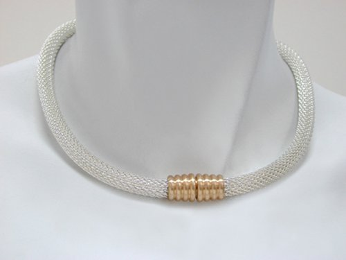 Magnetic Mesh Necklace with Silver Mesh Strand and Gold Magnetic Clasp