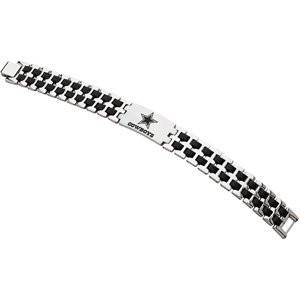 Stainless Steel Dallas Cowboys Stainless and Rubber Team Logo Bracelet 8 Inch - JewelryWeb