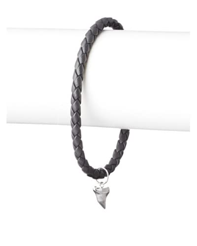 Link Up Shark Tooth Charm Grey Woven Leather Bracelet