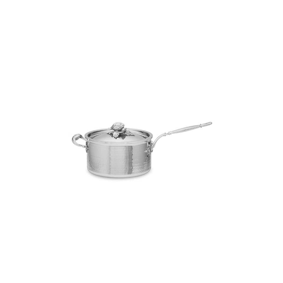 Ruffoni Hammered Stainless Steel Saucepan   3.5 Qt.