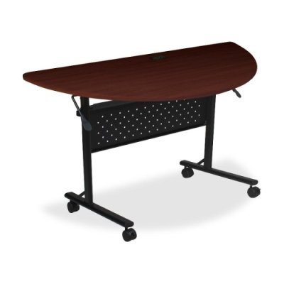 Lorell 60668, Flipper Training Table, 1/2 Round, 48 In.X24 In.X29-1/2 In., Mahogany front-627638
