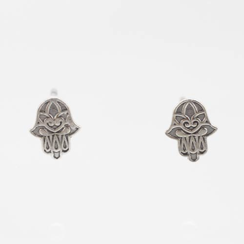 Tiny Decorative Hamsa Hand Post Earrings in Sterling Silver, #7432
