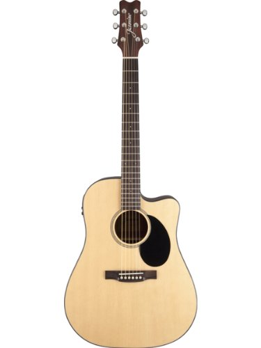 Jasmine Jd36Ce Dreadnought Acoustic-Electric Guitar Bundle With Gig Bag, Tuner, Strap, Strings, Picks, And Polishing Cloth - Natural