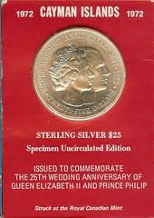 1972 Cayman Islands $25 Sterling Silver Specimen Uncirculated Edition