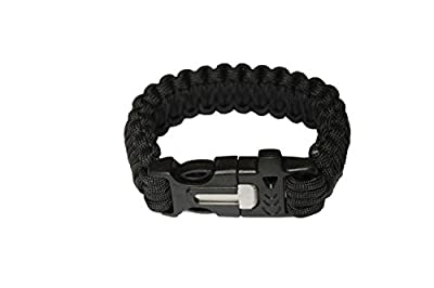 OmeGod® Outdoor Survival Paracord Rope Bracelet with Magnesia Fire Starter Stainless Scraper and Whistle, 7-Strand Parachute Cord by OmeGod
