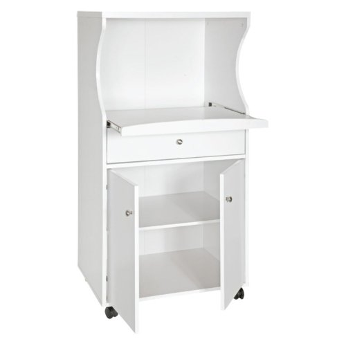 Home Source Home Source Portable Microwave Cart, White, Wood, 24 Inches