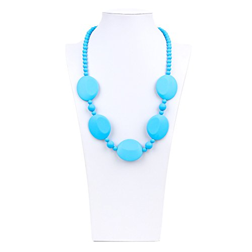 Bumkins Nixi Pietra Silicone Teething Necklace, Blue - 1