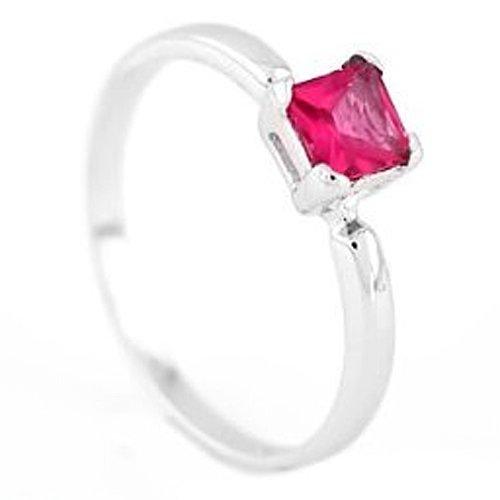 Silver Princess Cut July Ruby Birthstone Child Ring Size 6