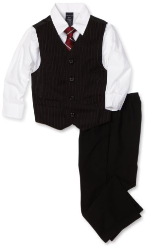 Nautica Dress Up Little Boys' Dresswear Vest Set, Black, 4T/4