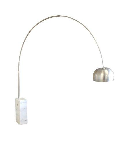 Baxton Studio Arco Lamp Cube-Shaped Marble Base, White