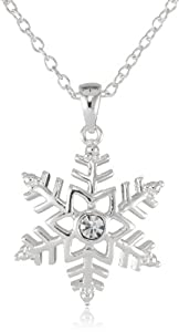 Sterling Silver Plated Snowflake Crystal Pendant Necklace, 18""