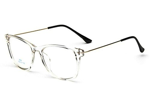 Flowertree Unisex S9352 Lightweight Super Thin Arm Wayfarer 52mm Glasses (Full clear)