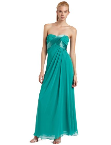 ABS Allen Schwartz Women's Strapless Chiffon Tucked Gown, Green, 0