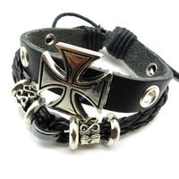 Bracelet- Black Leather Silvertone Iron Cross - Iron Cross Bracelet