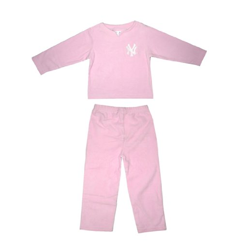 2 PCS SET: MLB New York Yankees Girls Fleece Sleepwear Pajama Top & Pants Set - Pink