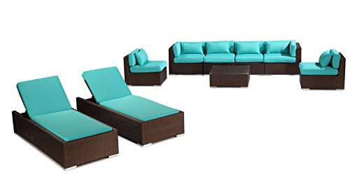 Outdoor Patio Furniture Modify-ItTM Aloha Maui 9-pc Sofa Set & Chaise Lounge, Espresso Wicker/Turquoise Cushions by Kardiel photo